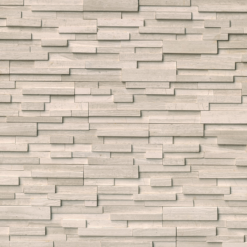 White Oak 3D Honed Stacked Stone Panels