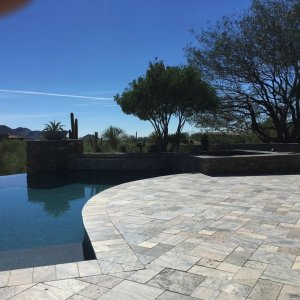 Silver travertine tumbled pavers pool decking San Jose