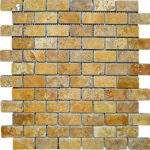 "1""x2"" Gold Travertine Mosaic"