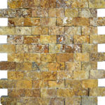 "1""x2"" Gold Split Face Travertine Mosaic"