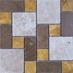 Mixed Travertine Tumbled Mini Pattern Mosaic