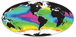 Niveis de oxigênio nos oceanos. As regiões com baixos niveis de oxigênio estão marcadas em vermelho. IFM-GEOMAR
