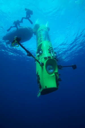 James Cameron's sub that he's descending the Mariana Trench in