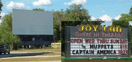 The Joy Lan Drive In Theater offers first run movies weekly! in an old-fashioned outdoor experience!