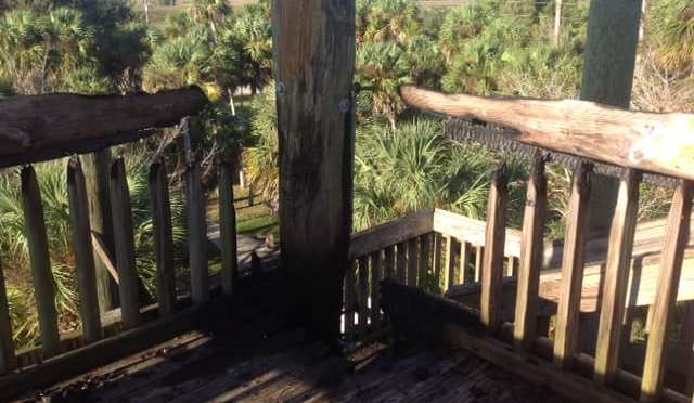 Linda Pederson Park Observation Tower Closed due to Fire Damage