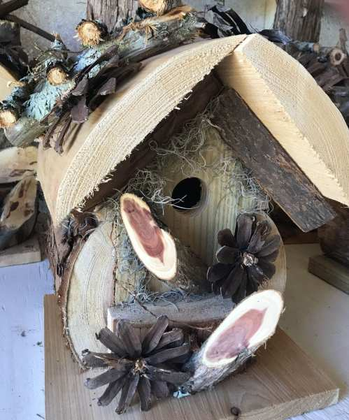 Nicely crafted bird houses.