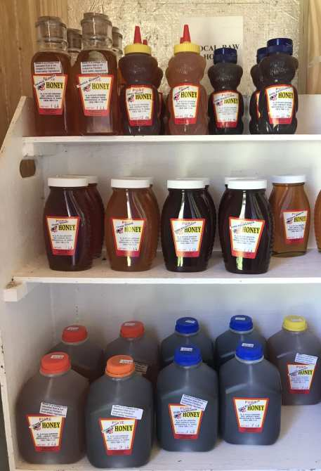 Locally grown honey from the Grissom farm.