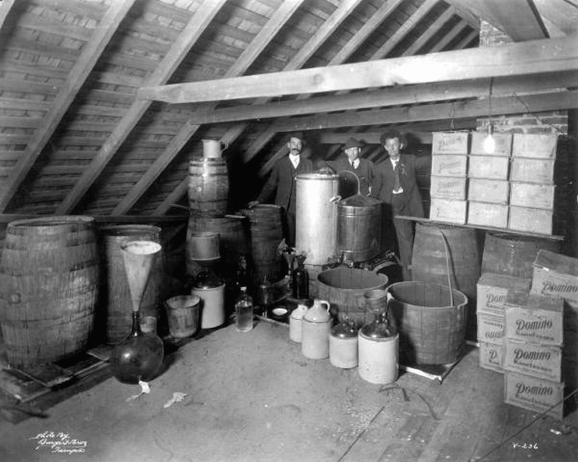 Moonshine and a still in the attic.
