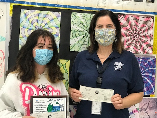 Taylor Ayers and Principal Melissa Baird, Inverness Middle School