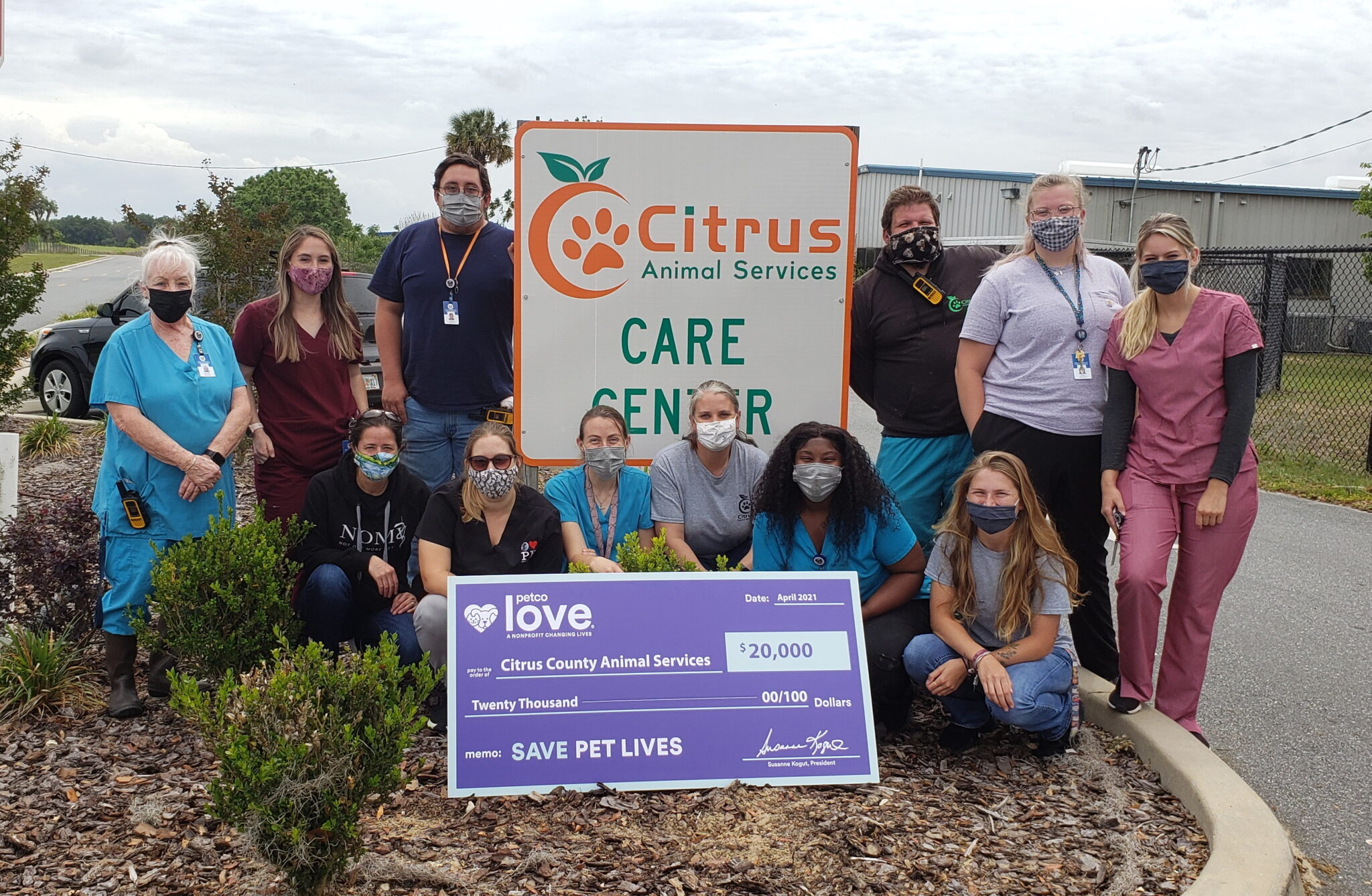 Citrus County Animal Services announced today a $20,000 grant investment from the newly named Petco Love, to support the lifesaving work done through their pet retention program which provides supplies, medical treatment, and other services for animals in Citrus County.