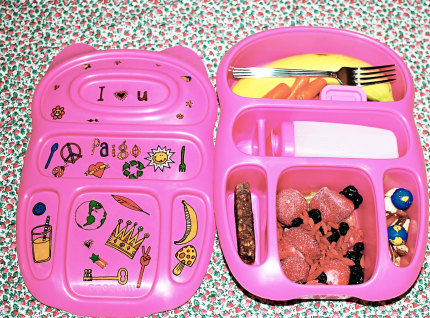PInk Goodbyn Lunchbox bento with raw food