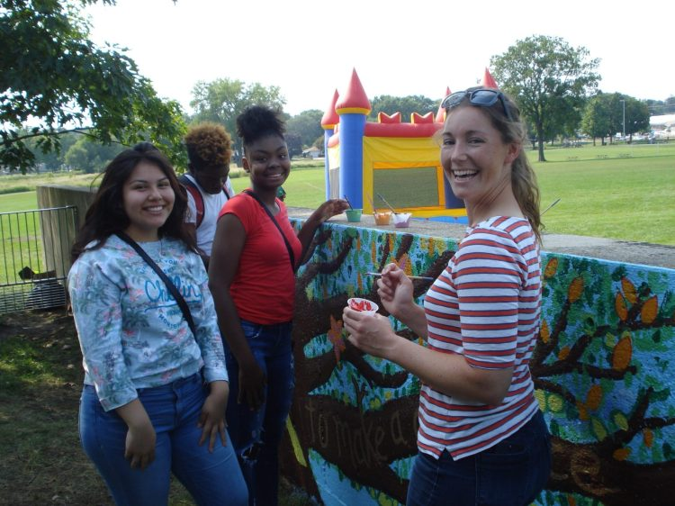 Teen groups from Warner Park Rec Center painting