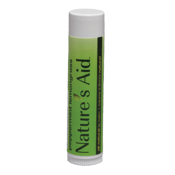 Peppermint Lemongrass tube lip balm with green label