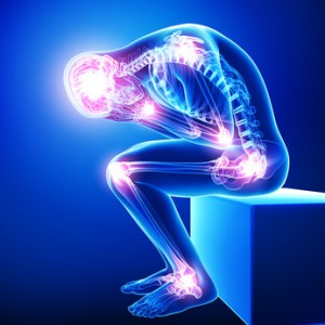 Anatomy of male brain pain with all joints pain in blue
