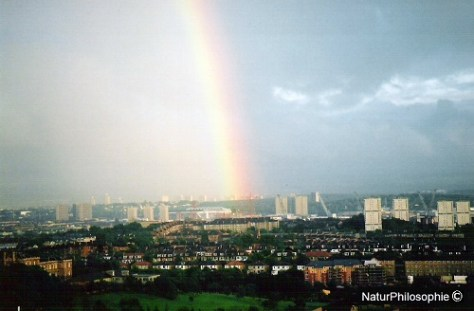 A photograph showing a rainbow over Glasgow Southside in 2004. Image: NaturPhilosophie