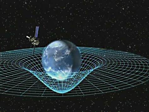 An artist's impression of the Earth's gravity field as described in Einstein's General Relativity.