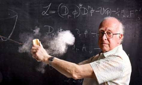 Don't try this one: Professor Peter Higgs with a description of the Higgs model.