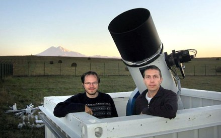 A photograph of Vitali Nevski and Artyom Novichonok with their telescope. Image: NASA