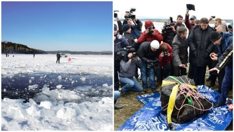A photographic collage showing the seven-metre hole in the 70 centimetre-thick ice sheet of Lake Cherbarkul, and the retrieved 4-6 tonnes of the Chelyabinsk asteroid that survived the explosion (roughly 0.03-0.05 % of its initial mass), surrounded by scientists and reporters. Image: NaturPhilosophie