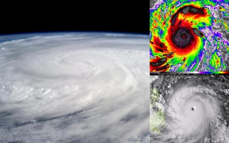 A photographic collage showing the extent and eye of typhoon Haiyan from space. Image: NaturPhilosophie