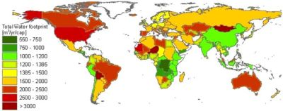 A map showing the average World water footprint.