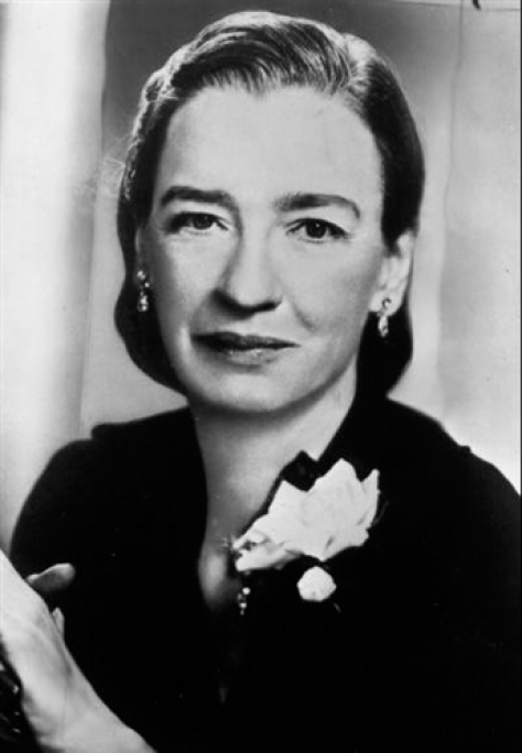A black and white photograph of a young Grace Hopper.