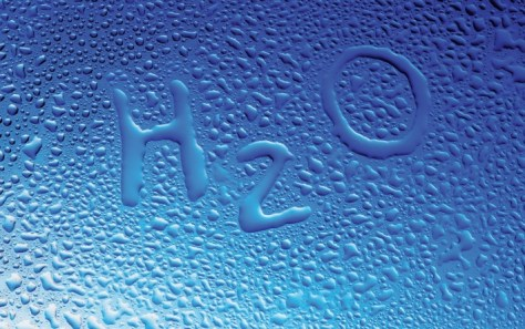 A clever design showing the word H2O drawn in condensation water droplets.