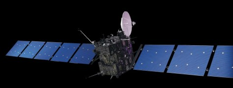 An artist's impression of the Rosetta spacecraft in outer space. Image: ESA