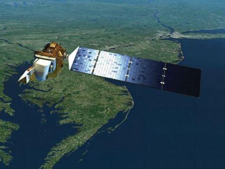 An artist's impression of NASA's Landsat Earth Observing satellite.