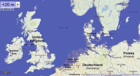 A map showing what the coast lines of Western Europe will look like with a 20-metre sea level rise.