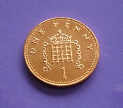 A photograph showing one British penny copper coin.