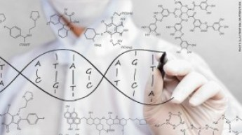 A composite picture showing a DNA siagram being drawn on transparent glass by a white-suited scientist. Is there a genetical link to our Friendship?