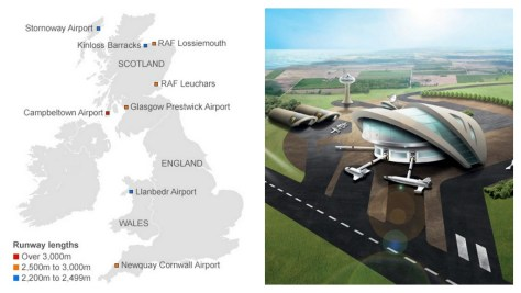 A digital collage showing a map of the UK's potential future spaceport locations, and an artist's impression of one of the facilities.