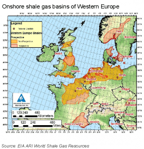 A geological map showing the onshore shale gas basins of Western Europe. Source: EIA