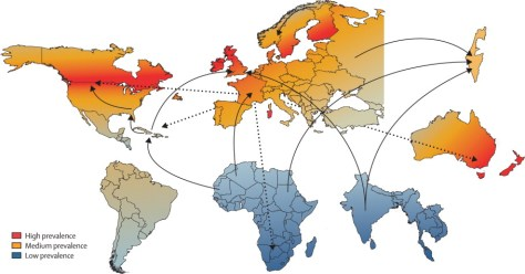 A map showing the geographical prevalence of Multiple Sclerosis (MS). Source: TheLancet