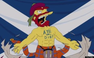 "A picture from the American show ""The Simpsons"" - Groundskeeper Willie on Scottish Independence: ""Aye or Die!"""