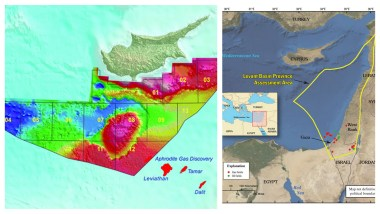 Two maps of the Levantine Basin Energy Triangle Geology and Location.