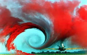 A photograph showing an airplane wake turbulence.