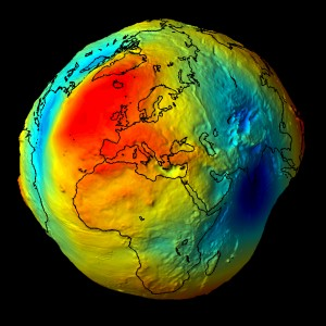 A computer image showing the GOCE Geoid. Source: MATLAB Handle Graphics