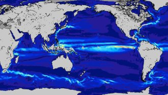 A map of the Ocean currents as seen from space by GOCE. Source: ESA