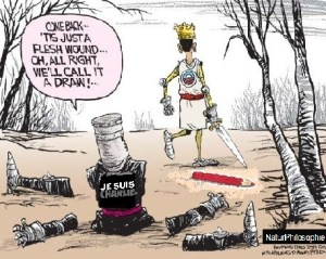 "A black knight cartoon joke for Charlie Hebdo. The caption reads: ""Come back... 'Tis just a flesh wound... Oh, all right, we'll call it a draw!..."" Image: NaturPhilosophie"