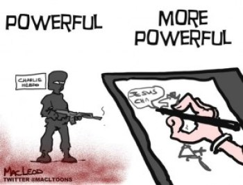 "A hommage cartoon to Charlie Hebdo - Powerful stuff. The captions read: ""Powerful"" and ""More Powerful"". The images describe a terrorist with an automatic rifle and a cartoonist drawing his stuff, respectively."