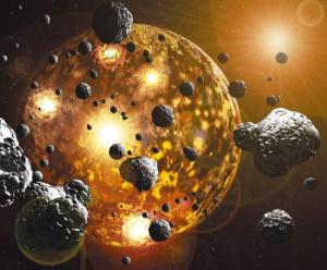 An artist's impression of proto-planet Earth being bombarded by asteroids.