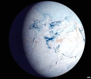 An artist's impression of Snowball Earth.