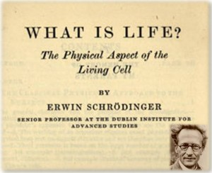 """A reproduction of the front page of Erwin Schrödinger's book """"What is Life? - The Physical Aspect of the Living Cell""""."""