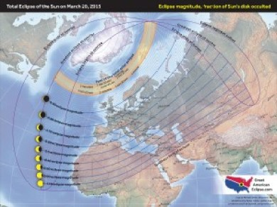 A map showing the progress of the total eclipse of the Sun of 2015 at different locations, with associated magnitudes.