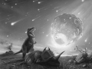A black and white slide showing the demise of the dinosaurs - perhaps by a dark matter-related impact event.