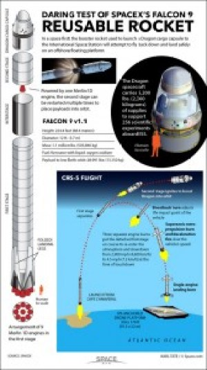 """An infographic explaining how the Falcon SpaceX reusable rocket is meant to work. The title reads: """"Daring Test of SpaceX's Falcon 9 Reusable Rocket"""". In space first, the booster rocket used to launch a Dragon cargo capsule to the International Space Station will attempt to fly back down and land safely on an offshore floating platform. Powered by one Merlin 1D engine, the second stage can be restarted multiple times to place payloads into orbit. Falcon 9 v1.1 Height: 224.4 feet $ ($68.4 metres$ )$ Diameter: 12 ft. $ ($3.7 m$ )$ Mass: 1.1 million lbs. $ ($505,846 kg$ )$ Fuel: Kerosene with liquid oxygen oxidiser. Payload to low Earth orbit: 28.991 lbs. $ ($13,150 kg$ )$."""