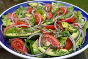 A photograph showing a healthy Mediterranean salad dish with lettuce, avocadoes, tomatoes and red onions.