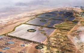 An aerial photograph showing Noor Ouarzazate Concentrated Solar Power project in Morocco.